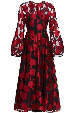 LELA ROSE Women's Rose Fil-Coupé Midi Dress - Cardinal - Size 6