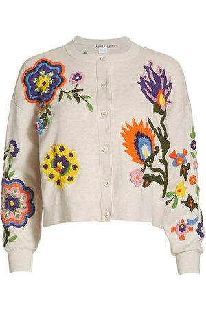 ALICE+OLIVIA Women's Lelia Floral-Embroidered Cardigan - Sand Multi - Size XS