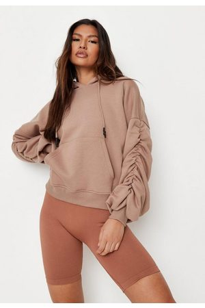 Missguided Women Hoodies - Tall Mocha Ruched Sleeve Oversized Hoodie