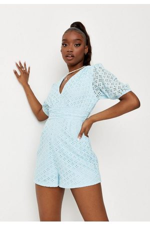 Missguided Women Playsuits - Broderie V Neck Romper