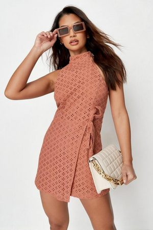 Missguided Women Playsuits - Broderie Wrap Racer Neck Romper