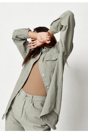 Missguided Women Denim - Khaki Co Ord Extreme Oversized Denim Shirt