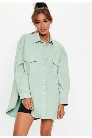 Missguided Women Denim - Sage Denim Extreme Oversized Boyfriend Shirt