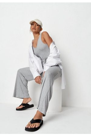 Missguided Light Rib V Neck Belted Wide Leg Loungewear Romper