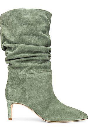 PARIS TEXAS Velour Slouchy Boot in Green