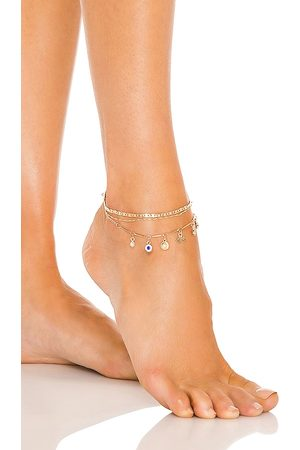 8 Other Reasons Evil Eye Charm Anklet in Metallic .