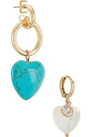 Ettika Heart Drop Earrings Set in Metallic .