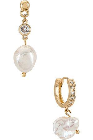 Ettika Women Earrings - Pearl Drop Earrings Set in Metallic .