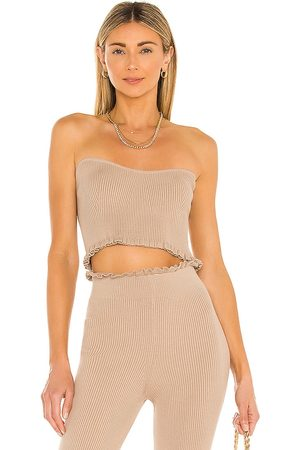 MAJORELLE Women Strapless Tops - Cropped Sweetheart Ribbed Tube Top in Taupe.