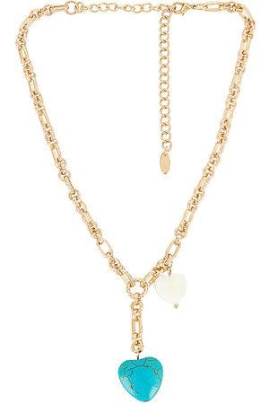 Ettika Women Necklaces - Turquoise Heart Lariat Necklace in Metallic .