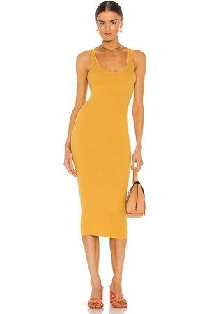 ENZA COSTA Women Midi Dresses - Rib Midi Tank Dress in Mustard.