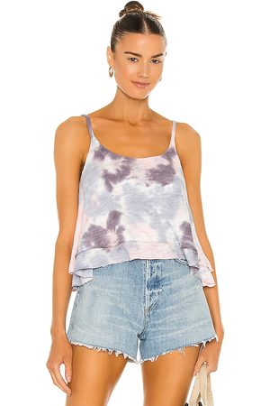 Chaser Slub Jersey Cropped Flouncy Double Scoop Cami in Blue.