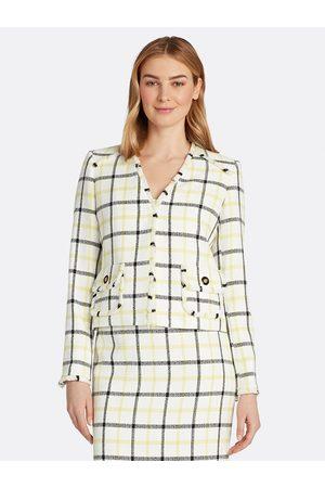 Tahari ASL Women Cardigans - Windowpane Fringe Cardigan Jacket Key Lime Windowpane Checks Size: 10