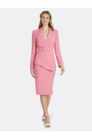 Tahari ASL Women Shapewear - Windowpane Check Crepe Belted Skirt Suit Azalea Ivory Windowpane Checks Size: 10