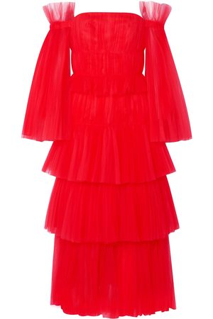 Carolina Herrera Woman Off-the-shoulder Tiered Tulle Gown Size 12