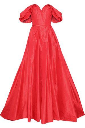 CAROLINA HERRERA Woman Off-the-shoulder Pleated Silk-taffeta Gown Size 12