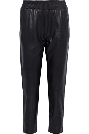 Muubaa Women Sweatpants - Woman Varni Cropped Leather Track Pants Size 10