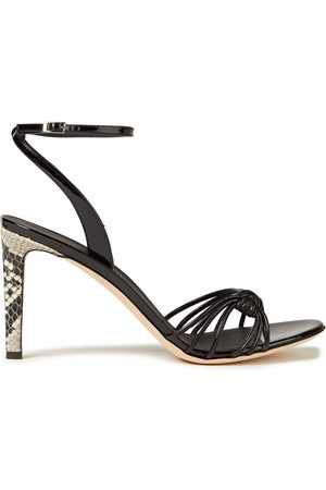 Giuseppe Zanotti Women Heeled Sandals - Woman Ylenia Knotted Snake-effect And Patent-leather Sandals Size 36
