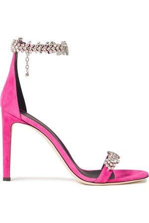 Giuseppe Zanotti Women Heeled Sandals - Woman Raissa Crystal-embellished Suede Sandals Bright Size 36