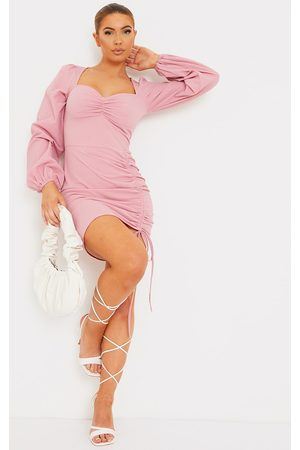 PRETTYLITTLETHING Textured Ruched Skirt Sweetheart Neck Bodycon Dress