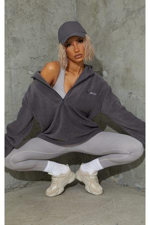 PRETTYLITTLETHING Charcoal Half Zip Hooded Fleece