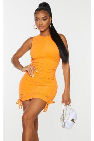 PRETTYLITTLETHING Women Bodycon Dresses - Shape Overlock Stitch Sleeveless Ruched Side Bodycon Dress