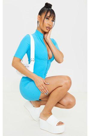 PRETTYLITTLETHING Women Bodycon Dresses - Bright Zip Front Rib Short Sleeve Bodycon Dress