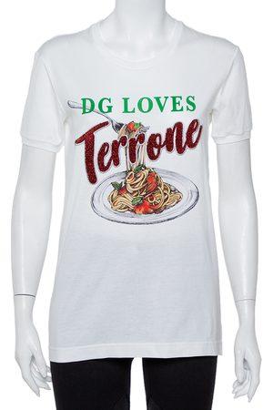 Dolce & Gabbana Dolce and Gabbana Cotton Pasta Graphic Printed Applique Detail Crewneck T-shirt S