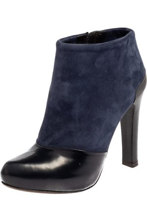 Fendi Navy /Black Suede and Leather Ankle Boots Size 36