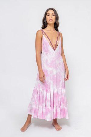 Pitusa Tie Dye Strappy Midi Dress Bubblegum Pink