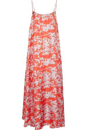 ASCENO Napoli printed silk twill slip dress
