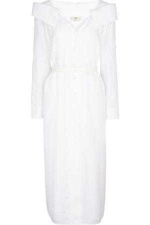 Fendi Off-shoulder linen shirt dress