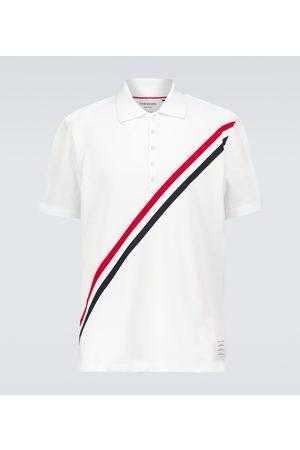 Thom Browne Diagonally-striped cotton polo shirt