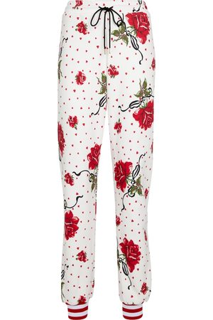 RODARTE Floral cotton-blend sweatpants