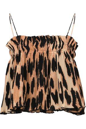 Ganni Leopard-print georgette camisole