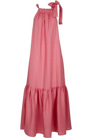ASCENO Ibiza halterneck linen maxi dress
