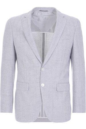 HUGO BOSS HARTLAY2 Silver Grey Herringbone Jacket in Cotton and Wool Blend 50450519