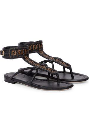 Fendi FF Interlace leather thong sandals