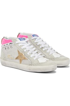 Golden Goose Women Sneakers - Mid Star suede-trimmed leather sneakers