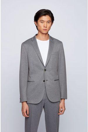 HUGO BOSS NORWIN4-J Silver Grey Micro-Patterned Slim-Fit Jacket in Stretch Jersey 50450433