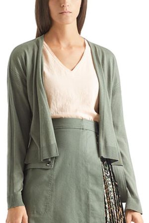 Marc Cain Sports Cotton and Silk Blend Knitted Cardigan Khaki QS 31.56 M71 592