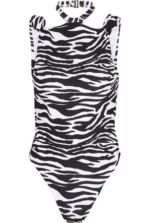 The Attico Halterneck zebra-print swimsuit