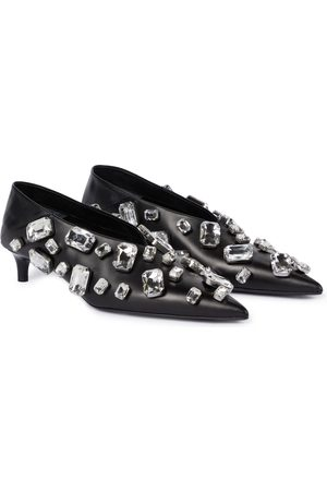 Jil Sander Crystal-embellished leather pumps