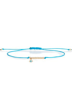 Sydney Evan Evil Eye Mini 18kt gold and rope bracelet