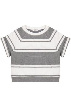Brunello Cucinelli Embellished striped cotton top