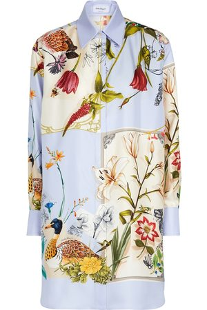Salvatore Ferragamo Floral silk twill shirt dress