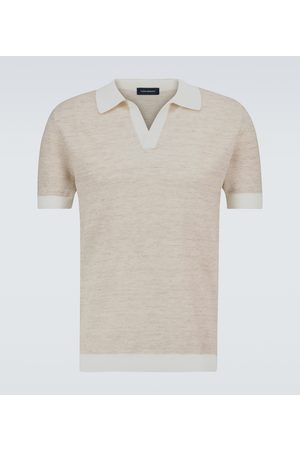 Thom Sweeney Open-collar cotton and linen polo