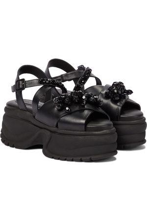 Simone Rocha Embellished leather platform sandals