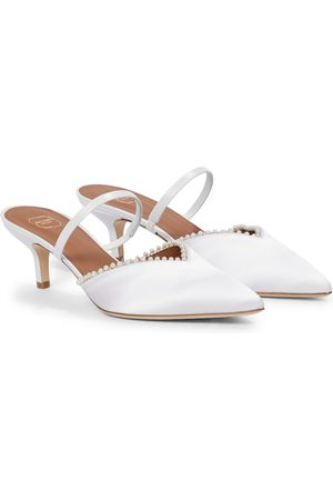 MALONE SOULIERS Exclusive to Mytheresa – Marla 45 faux pearl-trimmed satin mules