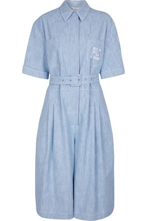 Fendi Belted cotton chambray jumpsuit